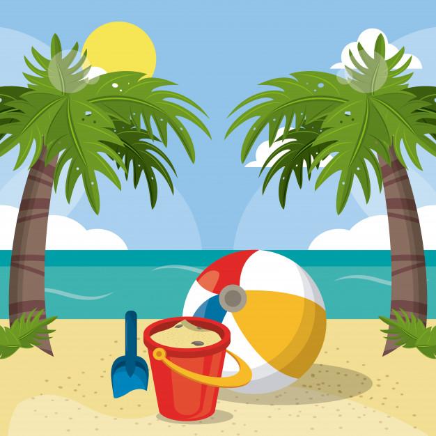 Ete plage vacances seau sable balle pelle palmiers soleil image 18591 2897